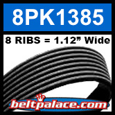 8PK1385 Automotive Serpentine (Micro-V) Belt: 1385mm x 8 RIBS. 1385mm Effective Length.