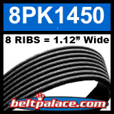 8PK1450 Automotive Serpentine (Micro-V) Belt: 1450mm x 8 RIBS. 1450mm Effective Length.