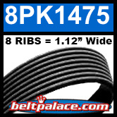 8PK1475 Automotive Serpentine (Micro-V) Belt: 1475mm x 8 RIBS. 1475mm Effective Length.