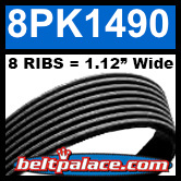 8PK1490 Automotive Serpentine (Micro-V) Belt: 1490mm x 8 RIBS. 1490mm Effective Length.