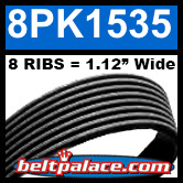 8PK1535 Automotive Serpentine (Micro-V) Belt: 1535mm x 8 RIBS. 1535mm Effective Length.