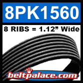 8PK1560 Automotive Serpentine (Micro-V) Belt: 1560mm x 8 RIBS. 1560mm Effective Length.
