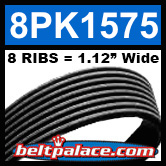8PK1575 Automotive Serpentine (Micro-V) Belt: 1575mm x 8 RIBS. 1575mm Effective Length.