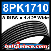 8PK1710 Automotive Serpentine (Micro-V) Belt: 1710mm x 8 RIBS. 1710mm Effective Length.