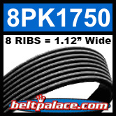8PK1750 Automotive Serpentine (Micro-V) Belt: 1750mm x 8 RIBS. 1750mm Effective Length.