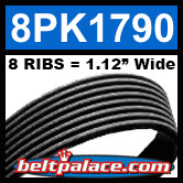 8PK1790 Automotive Serpentine (Micro-V) Belt: 1790mm x 8 RIBS. 1790mm Effective Length.
