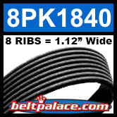 8PK1840 Automotive Serpentine (Micro-V) Belt: 1840mm x 8 RIBS. 1840mm Effective Length.