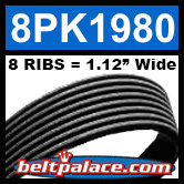 8PK1980 Automotive Serpentine (Micro-V) Belt: 1980mm x 8 RIBS. 1980mm Effective Length.