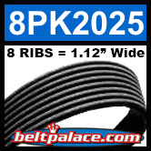 8PK2025 Automotive Serpentine (Micro-V) Belt: 2025mm x 8 RIBS. 2025mm Effective Length.