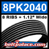 8PK2040 Automotive Serpentine (Micro-V) Belt: 2040mm x 8 RIBS. 2040mm Effective Length.
