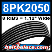8PK2050 Automotive Serpentine (Micro-V) Belt: 2050mm x 8 RIBS. 2050mm Effective Length.