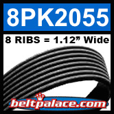 8PK2055 Automotive Serpentine (Micro-V) Belt: 2055mm x 8 RIBS. 2055mm Effective Length.
