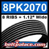 8PK2070 Automotive Serpentine (Micro-V) Belt: 2070mm x 8 RIBS. 2070mm Effective Length.