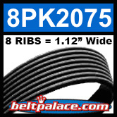 8PK2075 Automotive Serpentine (Micro-V) Belt: 2075mm x 8 RIBS. 2075mm Effective Length.
