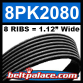 8PK2080 Automotive Serpentine (Micro-V) Belt: 2080mm x 8 RIBS. 2080mm Effective Length.