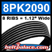 8PK2090 Automotive Serpentine (Micro-V) Belt: 2090mm x 8 RIBS. 2090mm Effective Length.