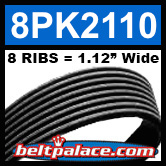 8PK2110 Automotive Serpentine (Micro-V) Belt: 2110mm x 8 RIBS. 2110mm Effective Length.