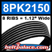 8PK2150 Automotive Serpentine (Micro-V) Belt: 2150mm x 8 RIBS. 2150mm Effective Length.