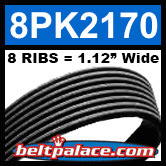 8PK2170 Automotive Serpentine (Micro-V) Belt: 2170mm x 8 RIBS. 2170mm Effective Length.