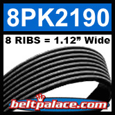 8PK2190 Automotive Serpentine (Micro-V) Belt: 2190mm x 8 RIBS. 2190mm Effective Length.