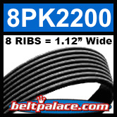 8PK2200 Automotive Serpentine (Micro-V) Belt: 2200mm x 8 RIBS. 2200mm Effective Length.