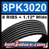 8PK3020 Automotive Serpentine (Micro-V) Belt: 3020mm x 8 RIBS. 3020mm Effective Length.