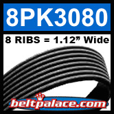 8PK3080 Automotive Serpentine (Micro-V) Belt