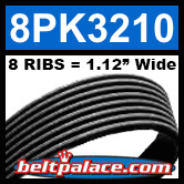 8PK3210 Automotive Serpentine (Micro-V) Belt: 3210mm x 8 RIBS. 3210mm Effective Length.