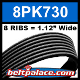 8PK730 Automotive Serpentine (Micro-V) Belt: 730mm x 8 RIBS. 730mm Effective Length.
