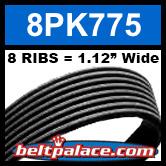 8PK775 Automotive Serpentine (Micro-V) Belt: 775mm x 8 RIBS. 775mm Effective Length.