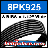 8PK925 Automotive Serpentine (Micro-V) Belt: 925mm x 8 RIBS. 925mm Effective Length.