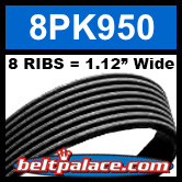 8PK950 Automotive Serpentine (Micro-V) Belt: 950mm x 8 RIBS. 950mm Effective Length.