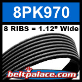 8PK970 Automotive Serpentine (Micro-V) Belt: 970mm x 8 RIBS. 970mm Effective Length.