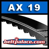 "AX19 Belt. Molded Notch V-Belt. 21"" Length. 1/2"" Wide."