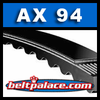 "AX94 Moulded Notch V-Belt. 96"" Length, 1/2"" wide. Cogged V-Belt."