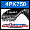 4PK750 Automotive Serpentine (Micro-V) Belt: 750mm x 4 ribs. 750mm Effective Length.