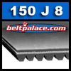 150J8 GATES Premium Poly-V Belt. Metric PJ381 8 Rib Belt.