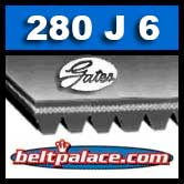 GATES 280J6 MICRO-V Belt (Poly-V). Metric PJ711 Motor Belt.