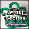 "Link V Belt: A-AX (4L) Section. 0.50"" Top Width. Urethane Molded Link V-Belts Sold by the Lineal Foot (USA)."
