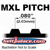 "MXL Metric Timing Belts. Trapezoidal Tooth Gear belts - 0.080"" Pitch"