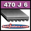 470J6 Poly-V Belt (Standard Duty), Metric 6-PJ1194 Motor Belt.