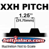 "XXH Timing belts. 1-1/4"" Pitch Trapezoidal Tooth Gear Belts."
