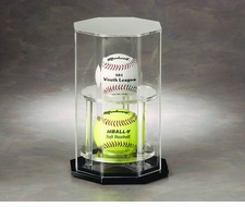 2 Ball / Hockey Puck Octagon Vertically Stacked Display Case