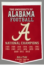 Alabama Crimson Tide 24 x 36 Football Dynasty Wool Banner