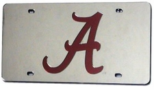 Alabama Crimson Tide Silver Laser Cut License Plate