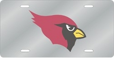 Arizona Cardinals Laser Cut Silver License Plate