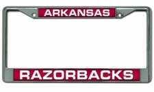 Arkansas Razorbacks Laser Cut Chrome License Plate Frame