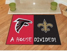Atlanta Falcons - New Orleans Saints House Divided Floor Mat