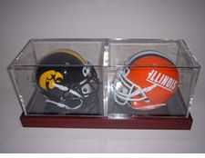 Ball Qube Double Mini Helmet Display Case with wooden base