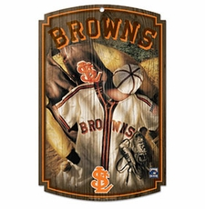 Baltimore Orioles Wood Sign w/ Throwback St. Louis Browns Jersey